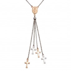Wholesale Sterling Silver 925 Rhodium and Rose Gold Plated Rosary Tassel Necklace - ARN00048RH/RGP