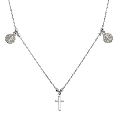 Wholesale Sterling Silver 925 Rhodium Cross With Religious Charms Necklace - ARN00049RH