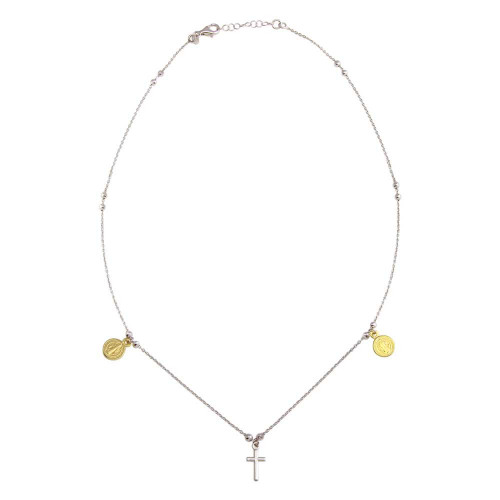 Wholesale Sterling Silver 925 2 Toned Rhodium Gold Plated Cross With Religious Charms Necklace - ARN00049RH/GP