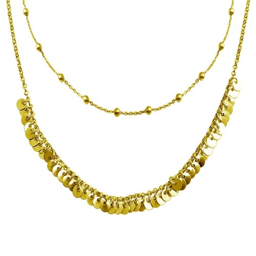 Wholesale Sterling Silver 925 Gold Beaded Disc Charms Double Chain Choker Necklace - ARN00051GP