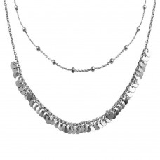 Wholesale Sterling Silver 925 Rhodium Beaded Disc Charms Double Chain Choker Necklace - ARN00051RH