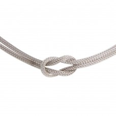Wholesale Sterling Silver 925 Knotted Double Chain Necklace - ARN00053RH
