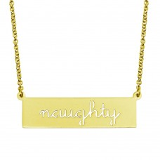 Wholesale Sterling Silver 925 Gold Plated Naughty Engraved Bar Pendant Necklace  - ARN00057GP
