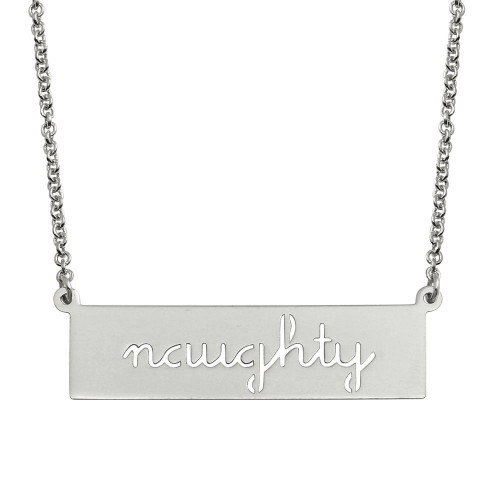 Wholesale Sterling Silver 925 Rhodium Plated Naughty Engraved Bar Pendant Necklace  - ARN00057RH