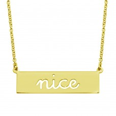 Wholesale Sterling Silver 925 Gold Plated Nice Engraved Bar Pendant Necklace  - ARN00058GP