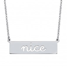 Wholesale Sterling Silver 925 Rhodium Plated Nice Engraved Bar Pendant Necklace  - ARN00058RH