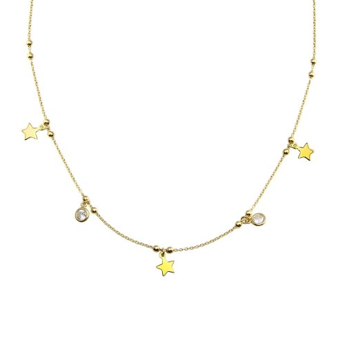 Wholesale Sterling Silver 925 Gold Plated Star and Beads CZ Necklace  - ARN00059GP