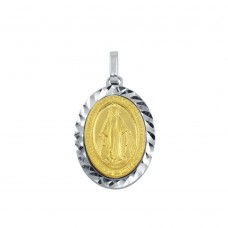 Wholesale Sterling Silver 925 Two-Toned Virgin Mary Medallion Pendant - ARP00018GP