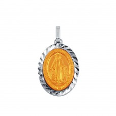 Wholesale Sterling Silver 925 Two-Toned Virgin Mary Medallion Pendant - ARP00018RGP