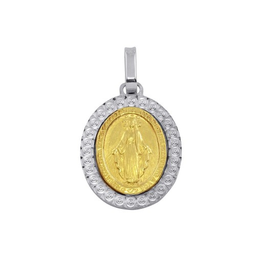 Wholesale Sterling Silver 925 Two-Toned Virgin Mary Medallion Pendant - ARP00019GP