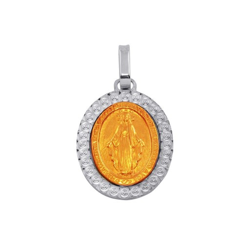 Wholesale Sterling Silver 925 Two-Toned Virgin Mary Medallion Pendant - ARP00019RGP