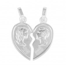Sterling Silver Rhodium Plated Broken Heart Pendant - ARP00040