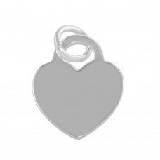 Sterling Silver Rhodium Plated Engravable Heart Pendant - ARP00042