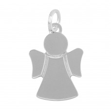 Sterling Silver Rhodium Plated Engravable Angel Pendant - ARP00046
