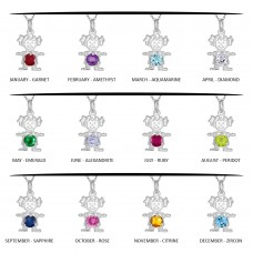 Wholesale Sterling Silver 925 Round CZ Birthstone Girl Flat Charm  - CHARM001