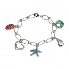 Wholesale Sterling Silver 925 Rhodium Plated Sealife Charm Bracelet - B00011