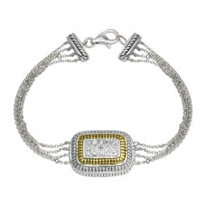 Wholesale Sterling Silver 925 2 Toned Gold And Rhodium Plated Square Rope CZ Chain Bracelet - B00026