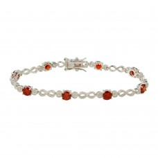 Wholesale Sterling Silver 925 Red CZ Infinity Tennis Bracelet - BGB00313RED