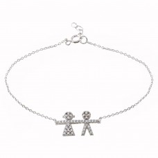 Wholesale Sterling Silver 925 Rhodium Plated CZ Boy AND Girl Chain Bracelet - BGB00335BG