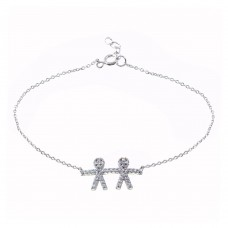 Wholesale Sterling Silver 925 Rhodium Plated CZ Boy Chain Bracelet - BGB00335BOY