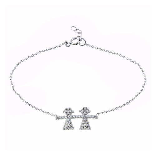 Wholesale Sterling Silver 925 Rhodium Plated CZ Girls Chain Bracelet - BGB00335GIRL