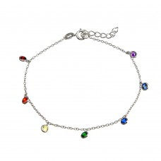 Wholesale Sterling Silver 925 Rhodium Plated Multi Color CZ Bracelet - BGB00343