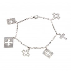 Wholesale Sterling Silver 925 Rhodium Plated Multiple Dangling Cross Objects CZ Bracelet - BGB00052
