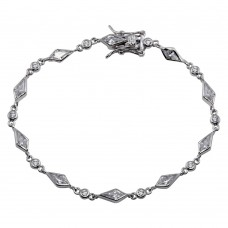 Wholesale Sterling Silver 925 Rhodium Plated Sharp Marquis Tennis CZ Bracelet - BGB00071