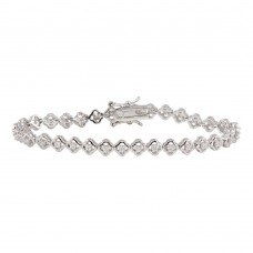Wholesale Sterling Silver 925 Rhodium Plated Small Flowers CZ Bracelet - BGB00085
