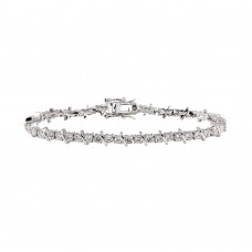 Sterling Silver Rhodium Plated Crown Setting Square Clear CZ Bracelet - BGB00106