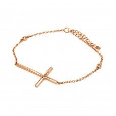 Wholesale Sterling Silver 925 Rose Gold Plated Cross Chain Bracelet With CZ - BGB00117RGP