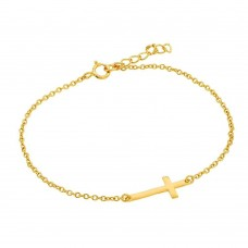 Wholesale Sterling Silver 925 Gold Plated Sideways Cross CZ Bracelet - BGB00129GP