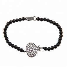 Sterling Silver Rhodium Plated Circle Crown CZ Inlay Black Bead Bracelet - BGB00140