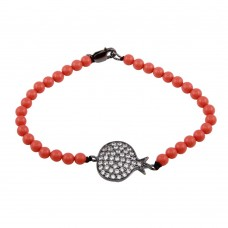 Wholesale Sterling Silver 925 Rhodium Plated Circle Crown Clear CZ Orange Bead Bracelet - BGB00141