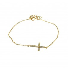 Wholesale Sterling Silver 925 Gold Plated Sideways Cross Clear CZ Inlay Bracelet - BGB00145