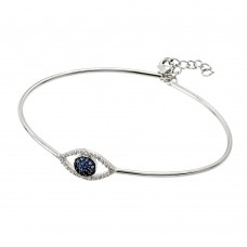 Wholesale Sterling Silver 925 Rhodium Plated Evil Eye Bangle Cuff Bracelet - BGB00205