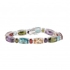 Wholesale Sterling Silver 925 Rhodium Plated Multi-Color CZ Bracelet - BGB00254