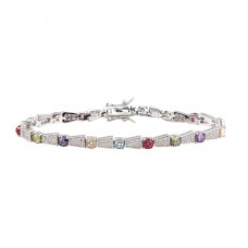 Wholesale Sterling Silver 925 Rhodium Plated Multi Color Tennis Bracelet - BGB00262