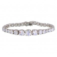 Wholesale Sterling Silver 925 Rhodium Plated Round CZ Bracelet - BGB00303
