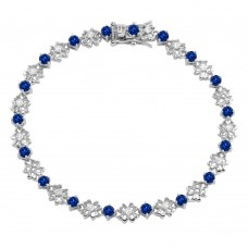 Sterling Silver Rhodium Plated Flower Link  Bracelet with Clear and Blue CZ - BGB00304BLU
