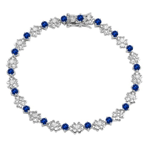 Wholesale Sterling Silver 925 Rhodium Plated Flower Link  Bracelet with Clear and Blue CZ - BGB00304BLU