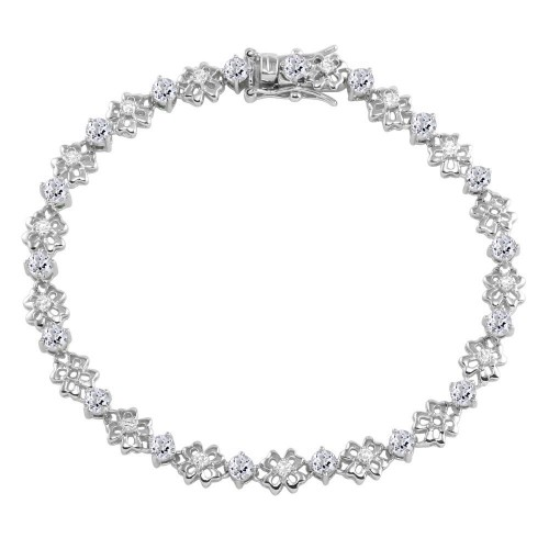 Wholesale Sterling Silver 925 Rhodium Plated Flower Link  Bracelet with Clear CZ - BGB00304CLR