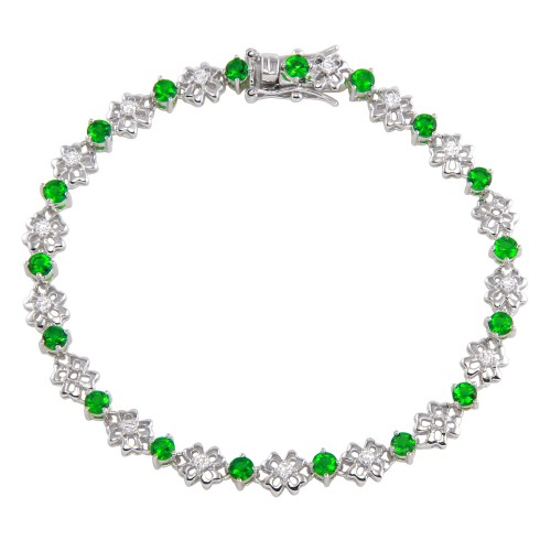Wholesale Sterling Silver 925 Rhodium Plated Flower Link  Bracelet with Clear and Green CZ - BGB00304GRN