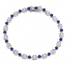 Sterling Silver Rhodium Plated Flower Link  Bracelet with Clear and Purple CZ - BGB00304PUR