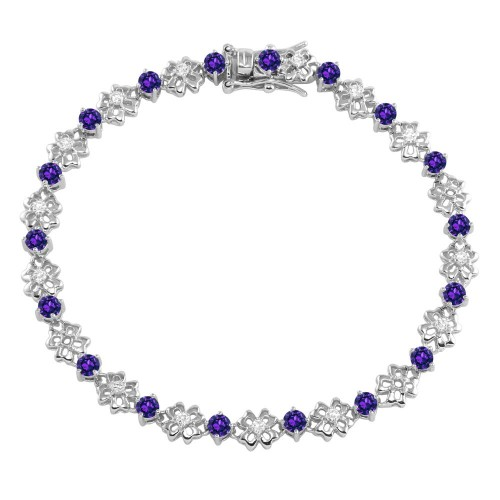 Wholesale Sterling Silver 925 Rhodium Plated Flower Link Bracelet with Clear and Purple CZ - BGB00304PUR
