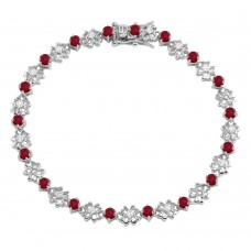 Wholesale Sterling Silver 925 Rhodium Plated Flower Link  Bracelet with Clear And Red CZ - BGB00304GAR