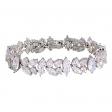 Sterling Silver Rhodium Plated Mixed Shapes CZ Bracelet - BGB00305