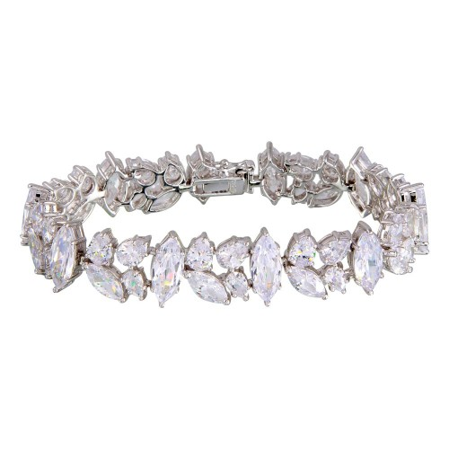 Wholesale Sterling Silver 925 Rhodium Plated Mixed Shapes CZ Bracelet - BGB00305