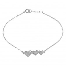 Wholesale Sterling Silver 925 Rhodium Plated Double 3 CZ Hearts Chain Bracelet - BGB00306