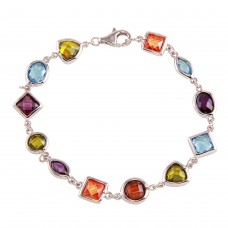 Sterling Silver Multi-Color Mixed CZ Stone Bracelet - BGB00307